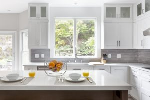 white gray & wood kitchen